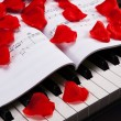 Piano keys and musical book — Stock Photo #37145245