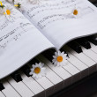 Foto de Stock  : Piano keys and musical book and flower