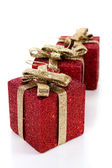 Artificial red gift boxes — 图库照片