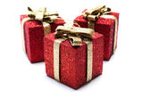 Artificial red gift boxes — Stok fotoğraf