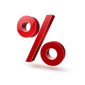 Symbol 3d percent red 3 glossy — Stock Vector