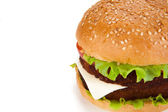 Big hamburger on a white background — Stok fotoğraf