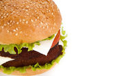 Big hamburger on a white background — 图库照片