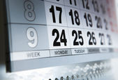 Wall calendar calendar with the number of days — Stock Photo