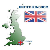 Collage map flag badge uk — Stockvektor