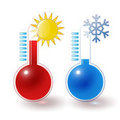 Thermometers hot cold set — Stock Vector