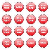 Rode stickers patroon — Stockvector
