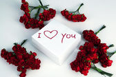Notebook with marker inscription I love you and roses — Photo