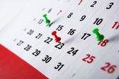 Wall calendar calendar with needles — Stock Photo