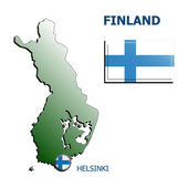 Collage map flag badge finland — Stock Vector