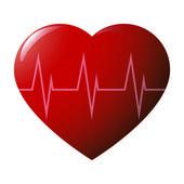 Lesklé srdce cardiogramme — Stock vektor