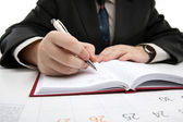 Man is preparing for written work — Stockfoto