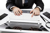 Human fingers on the notebook keyboard 3 — Stock Photo
