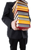 Man holding a stack of books — Foto de Stock
