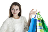 Young girl after shopping — Stockfoto