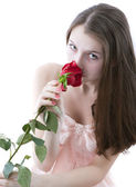 Girl with a rose in hands 3 — Stock Photo