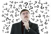 Portrait of a man thinking question 2 — Stock Photo