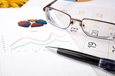 Business diary with pen and diagram — Stockfoto