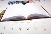 Business diary with calendar and diagram — Photo