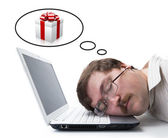 Employee for computer dream gift — Stock Photo