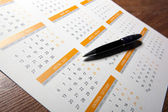 Wall calendar with pen closeup — Stock Photo