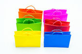 Colourful paper shopping bags isolated on whit — Foto Stock