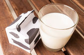 Glass of milk, a carton of milk on wooden table. — Foto de Stock