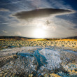 Surreal landscape volcano erupted liquid mud to sunset — Stock Photo