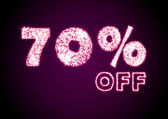 Glossy discount 70 percent off sign — Stock Photo