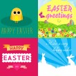 Stock Vector: Happy easter cards illustration