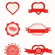 Valentine's Day vintage design elements and hearts — Vector de stock