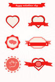 Valentine's Day vintage design elements and hearts — Stock Vector