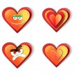 Heart icons. Love paper cut illustration set. Isolated on white background - Stock Photo