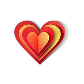 Beautiful heart icon. Paper cut illustration. Isolated on white background — Stock Photo