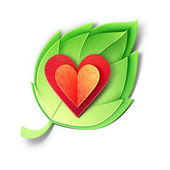 Young green leaf with heart. Paper cut illustration. Isolated on white background — Stock Photo