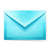 Blue letter envelope. Isolated paper cut illustration — Stock Photo