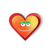 Lachende hart pictogram. papier gesneden illustratie op liefdesthema. geïsoleerd op witte achtergrond — Stockfoto