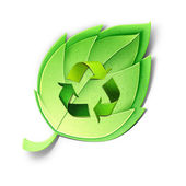 Young green leaf with recycle symbol. — Stock Photo