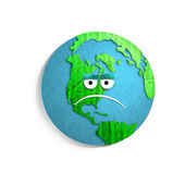 Cartoon sad Earth globe — Stock Photo