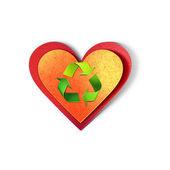 Conceito ambiental. ilustração com recicl o símbolo de corte de papel. isolado no branco. — Foto Stock