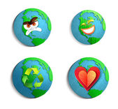 Environmental concept. paper cut illustration set. — Stock Photo