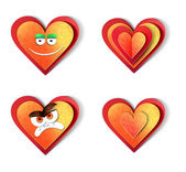 Heart icons. Love paper cut illustration set. Isolated on white background — Stock Photo