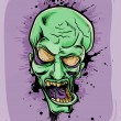 Screaming green zombie. Halloween poster - Stok Vektör