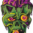 Green zombie's head with brains. Isolated on white background. — Stock Vector #16510649