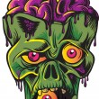 Green zombie's head with brains. Isolated on white background. — Stock Vector