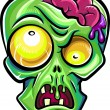 Royalty-Free Stock Vector Image: Green zombie's head with brains. Isolated on white background.