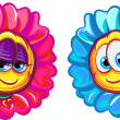 Happy boy and girl flower characters. Vector illustration. Isolated on white background — Stock Vector