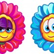 Royalty-Free Stock Vectorafbeeldingen: Happy boy and girl flower characters. Vector illustration. Isolated on white background