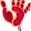 Bloody hand print. Vector illustration — Stock Vector