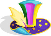 Colorful wizard's hat with golden stars — Stock Vector